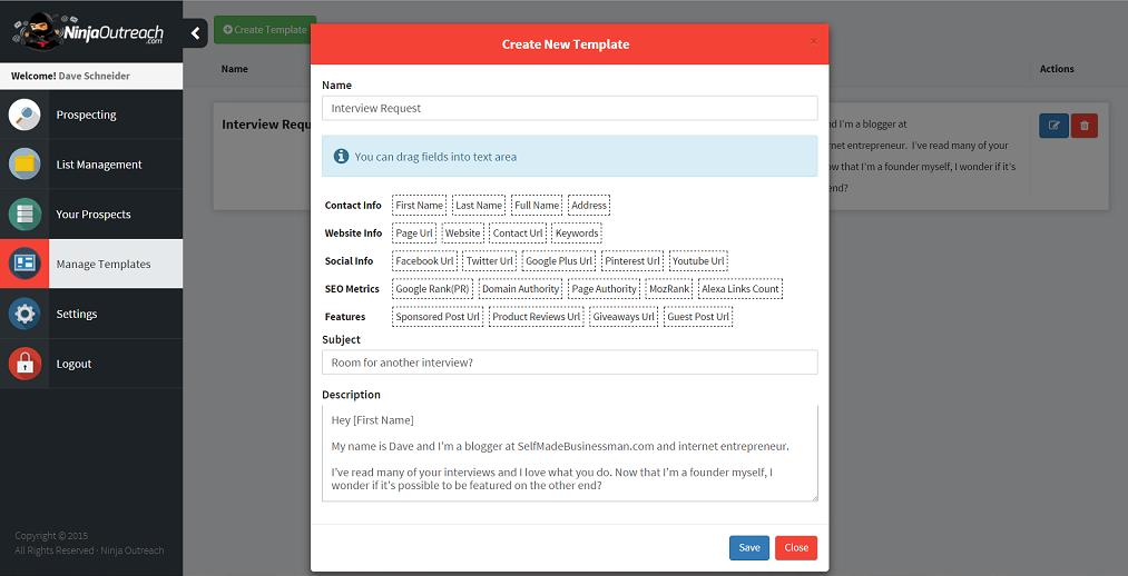Ninjaoutreach Demo - Create Customer Templates