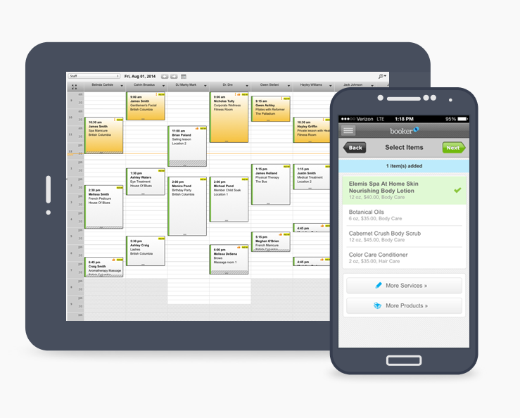 Booker Software Demo - The Booker app works seamlessly on mobile and tablet