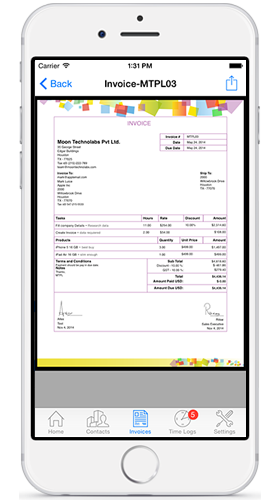 Moon Invoice - Easy Invoicing Demo - Invoice PDF, Created from the company settings.