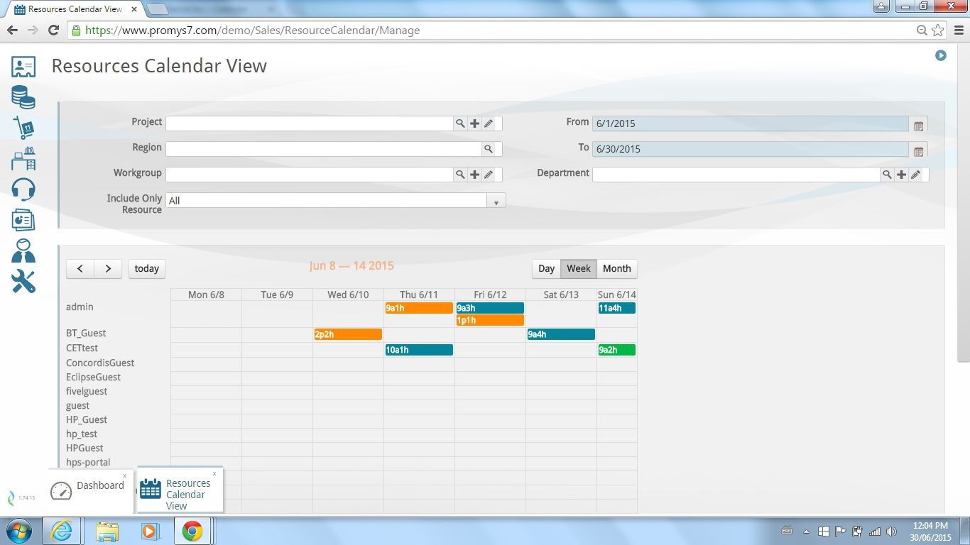 PROMYS Enterprise PSA Demo - Promys Resource calendar