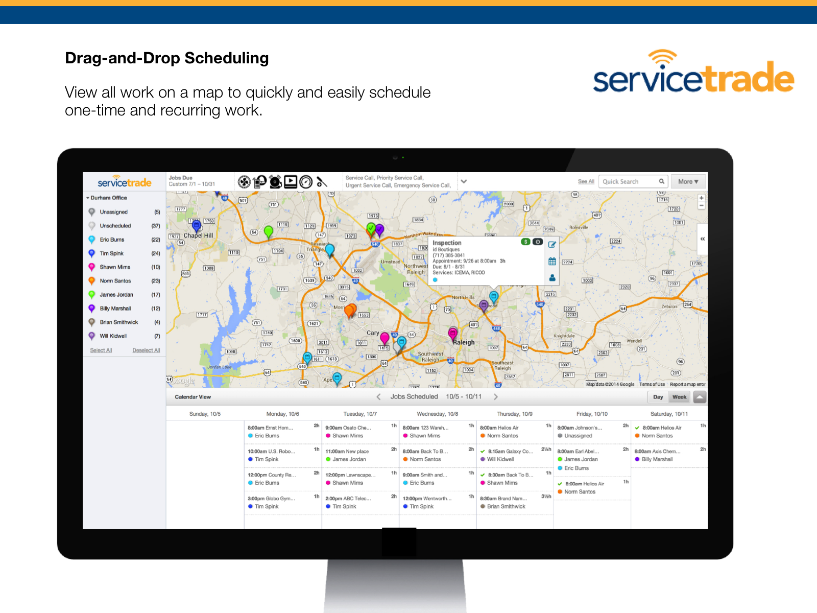 ServiceTrade Demo - Drag-and-drop Scheduling