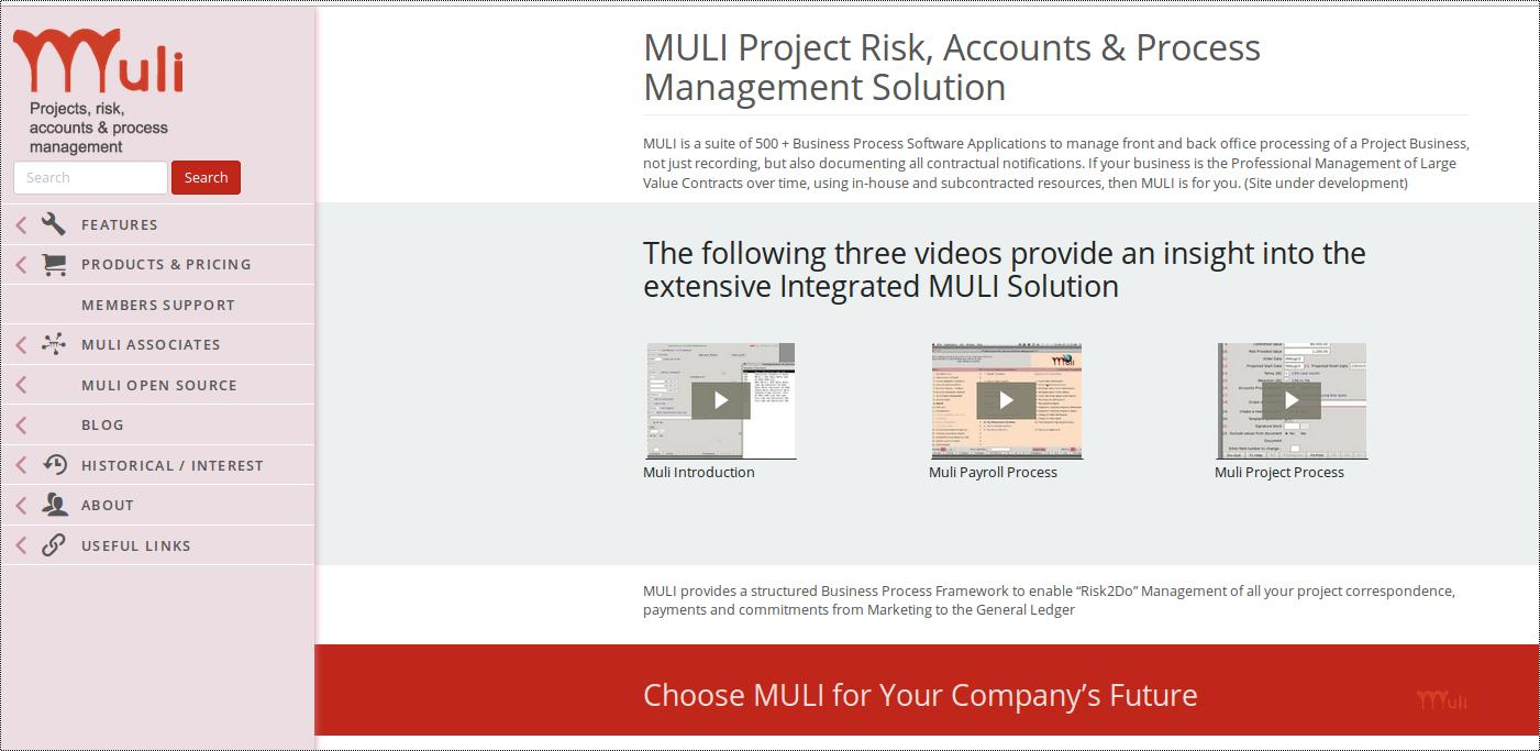 MULI Project Risk, Accounts & Process Management Demo - Muli Web