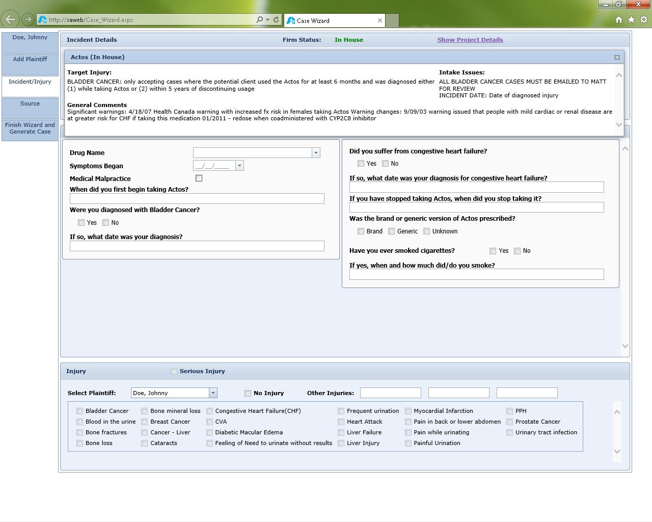 SmartAdvocate Demo - Customizable Case Wizard