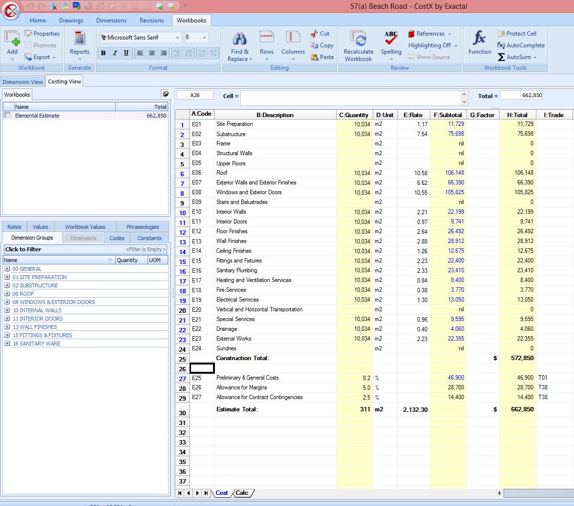 CostX Demo - Workbooks in CostX