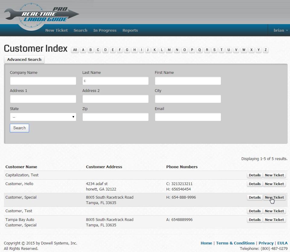 Real-Time Labor Guide Demo - Customer Database (optional)