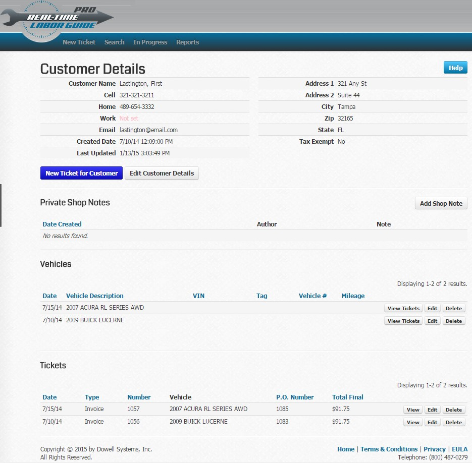 Real-Time Labor Guide Demo - Customer details and history (optional)