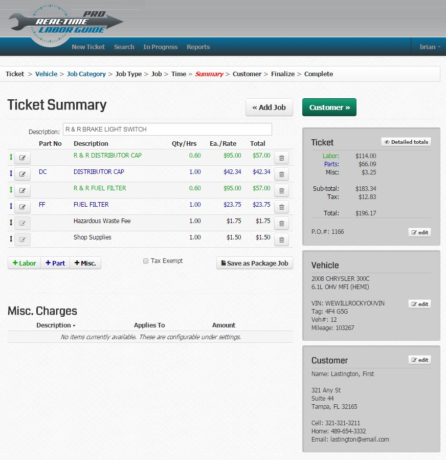 Real-Time Labor Guide Demo - Finishing your ticket