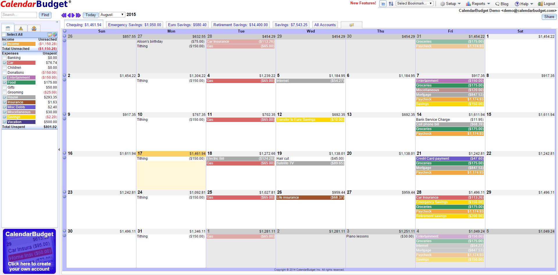 CalendarBudget Demo - Main Calendar Interface