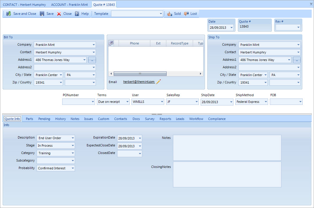 RedHorse CRM Demo - Sales Management