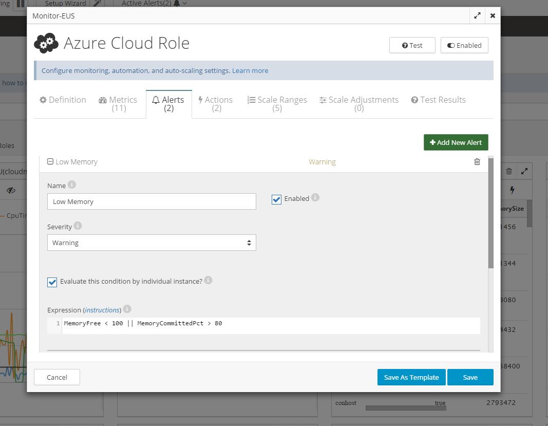 CloudMonix Demo - Monitoring configuration dialog