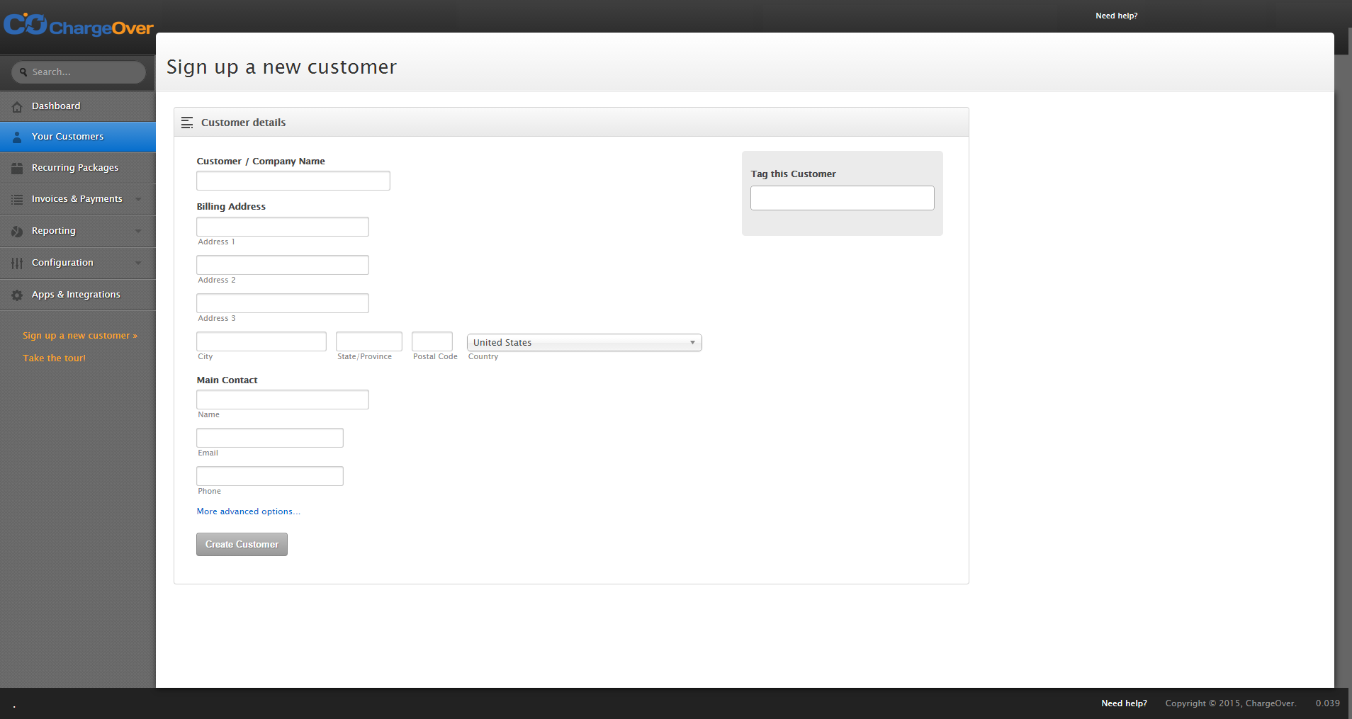 ChargeOver Demo - Add New Customer Form