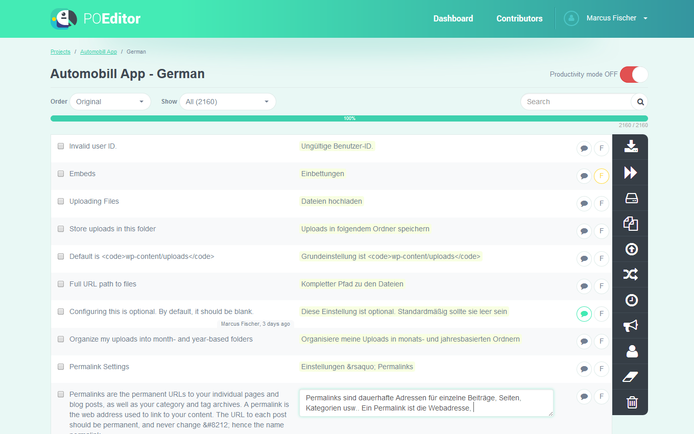 POEditor Demo - Language page - POEditor localization platform