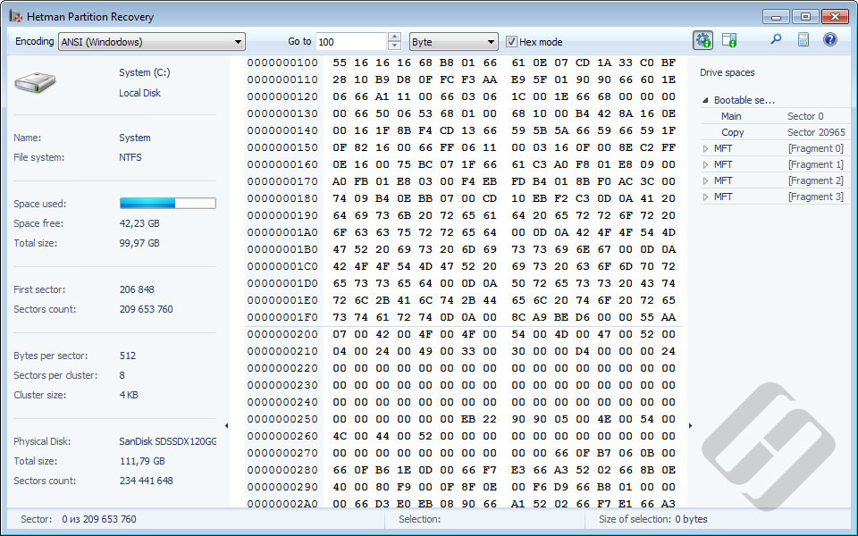 Hetman Partition Recovery Demo - HEX Editor