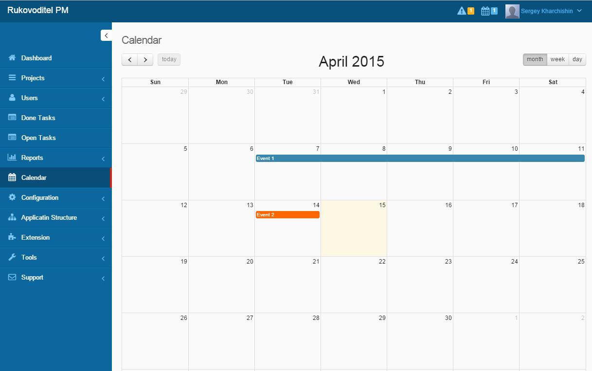 Rukovoditel Demo - Calendar