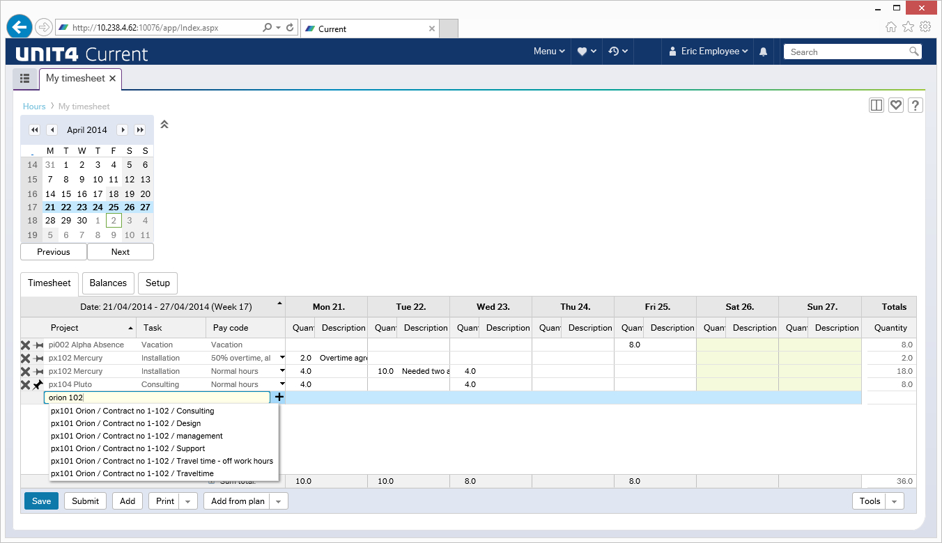 Unit4 Time Management Demo - Timesheet entry