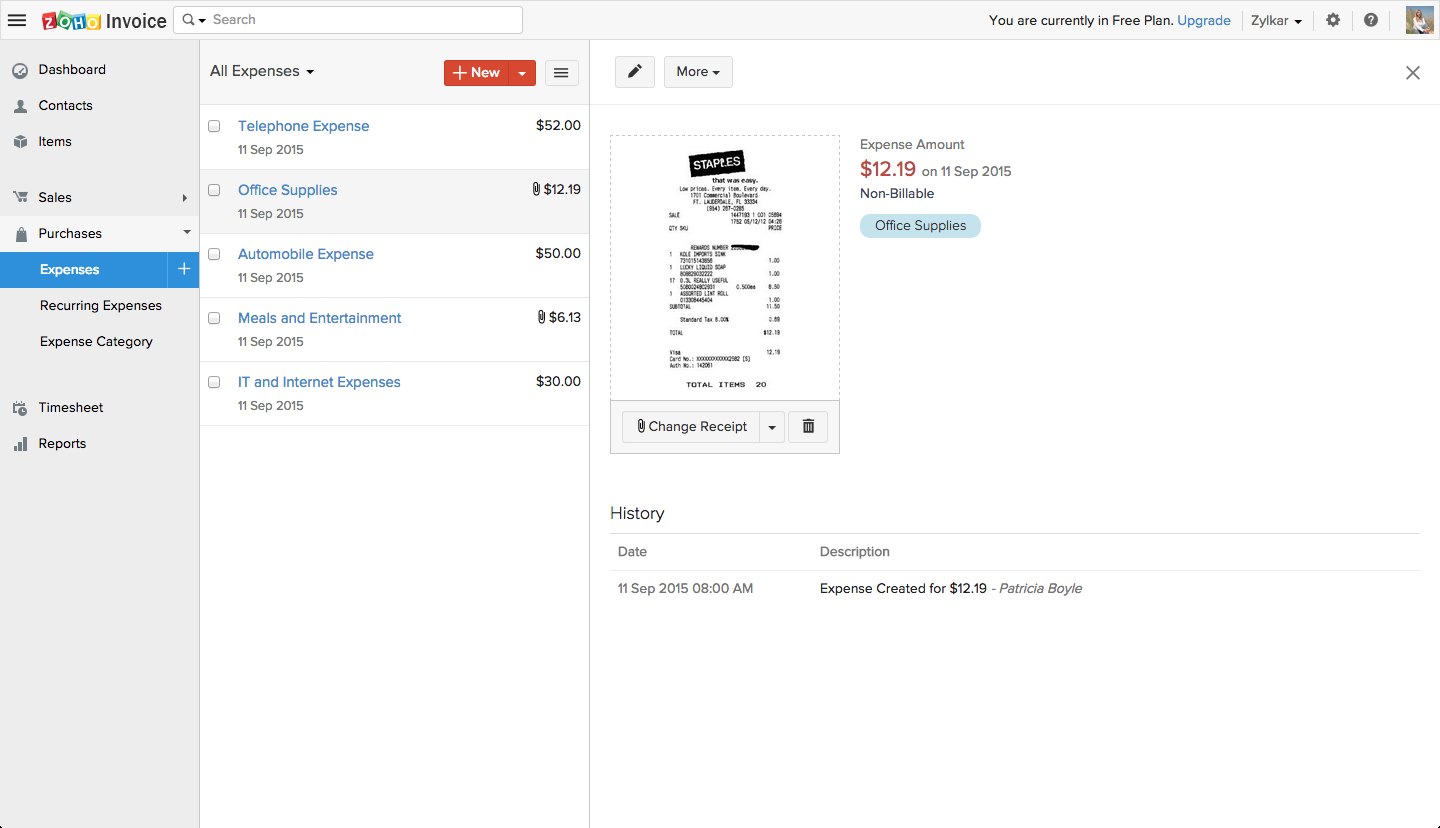 Zoho Invoice Demo - Expenses