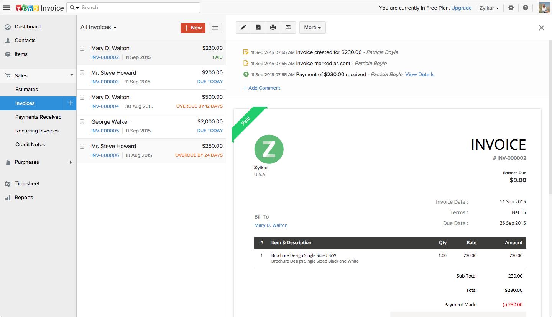 Zoho Invoice Demo - Invoice