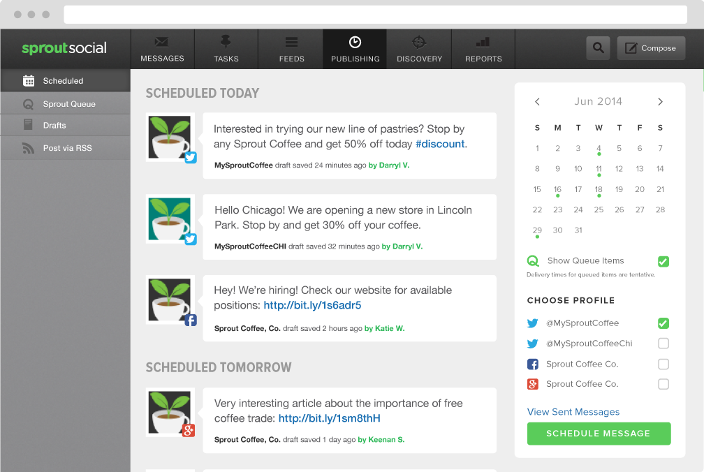 Sprout Social Demo - Schedule