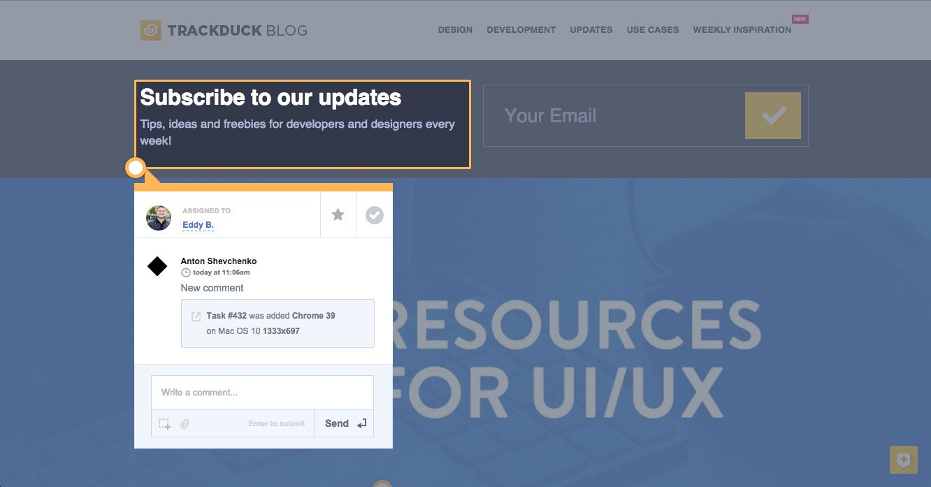 TrackDuck Demo - TrackDuck - task review on the website