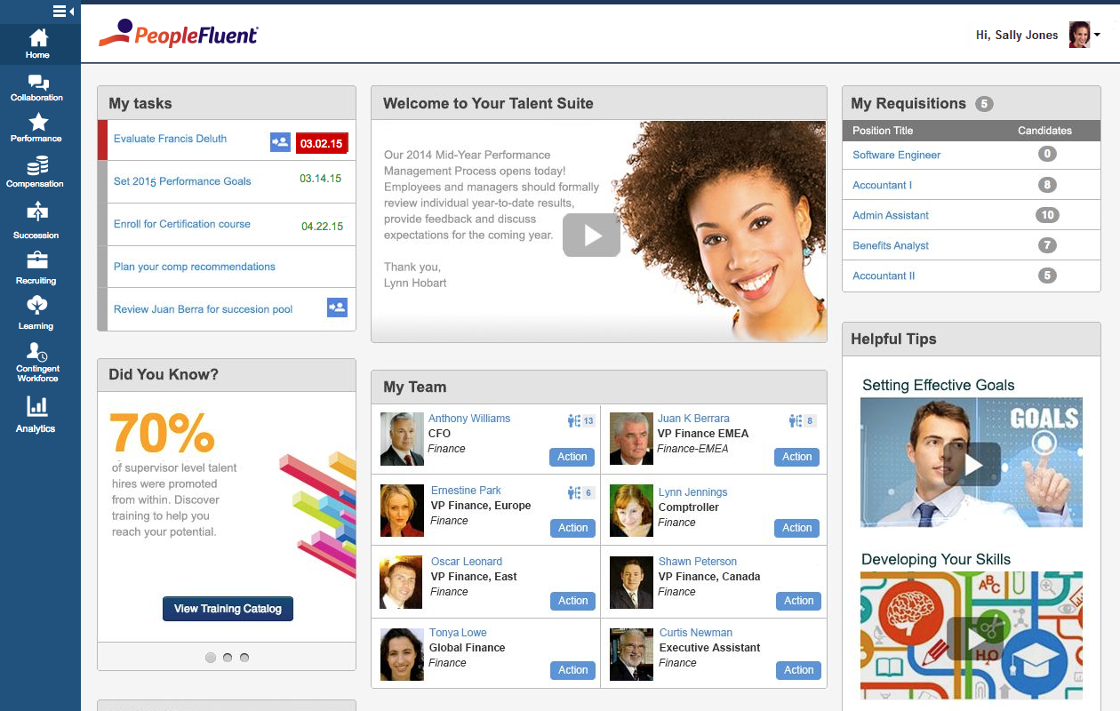 PeopleFluent Demo - PeopleFluent Talent Management Dashboard