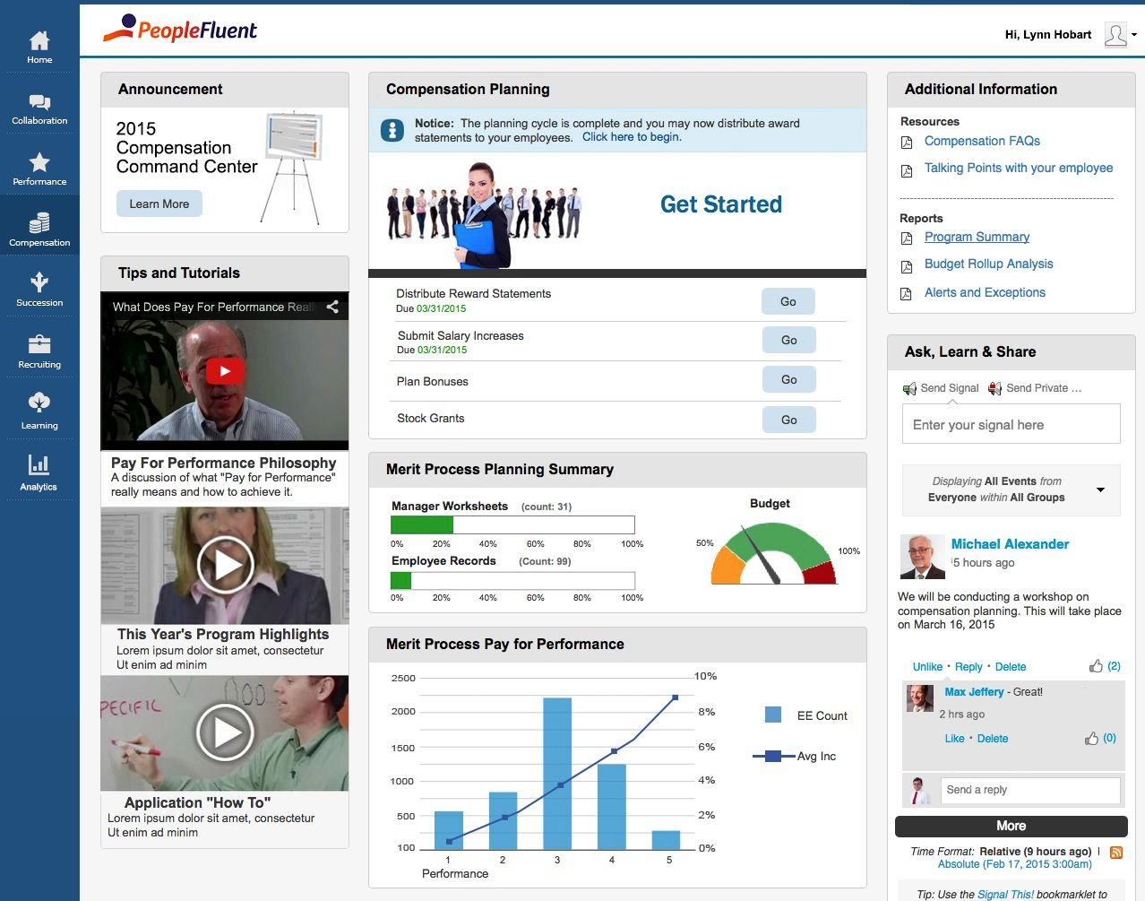 PeopleFluent Demo - PeopleFluent Compensation Dashboard