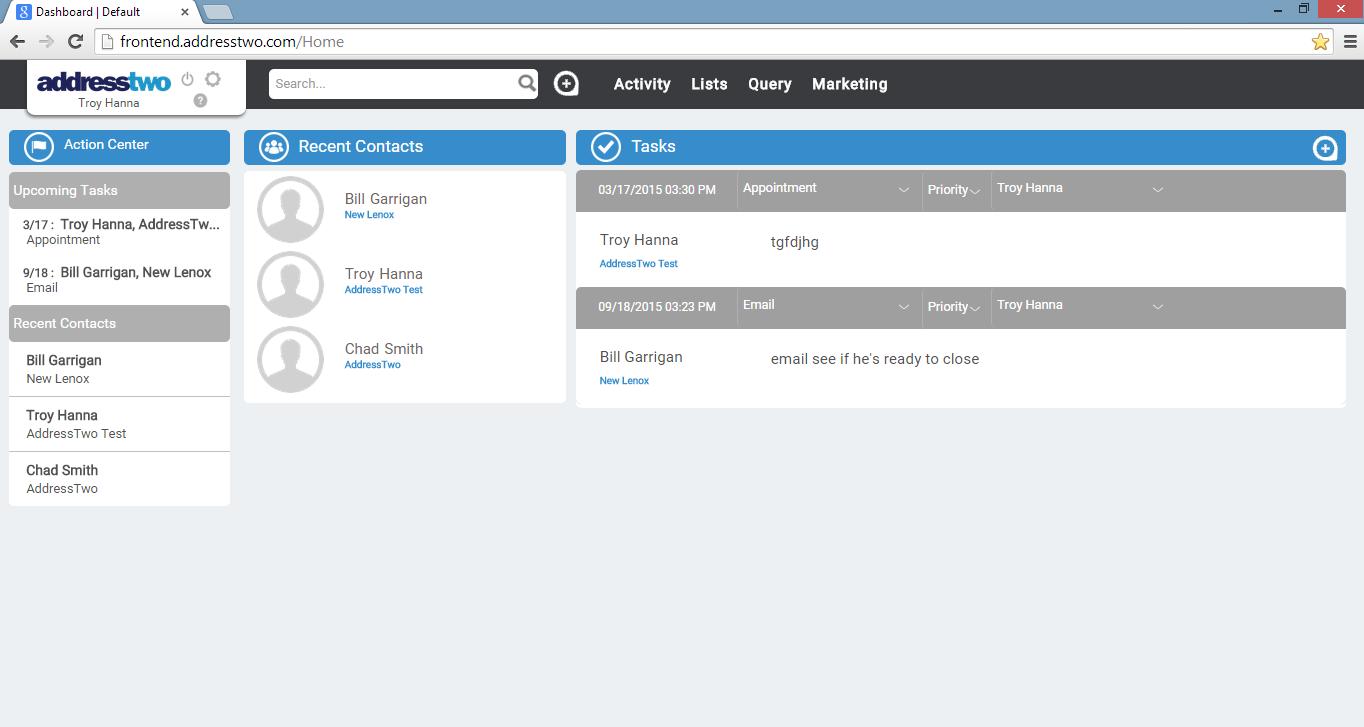 AddressTwo Demo - User Dashboard