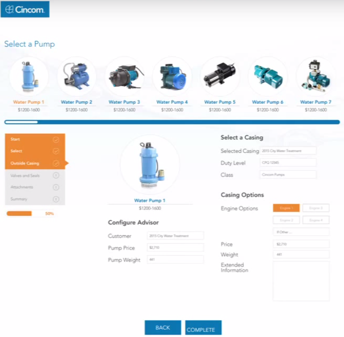 Cincom CPQ Demo - Cincom CPQ - Pump Demo