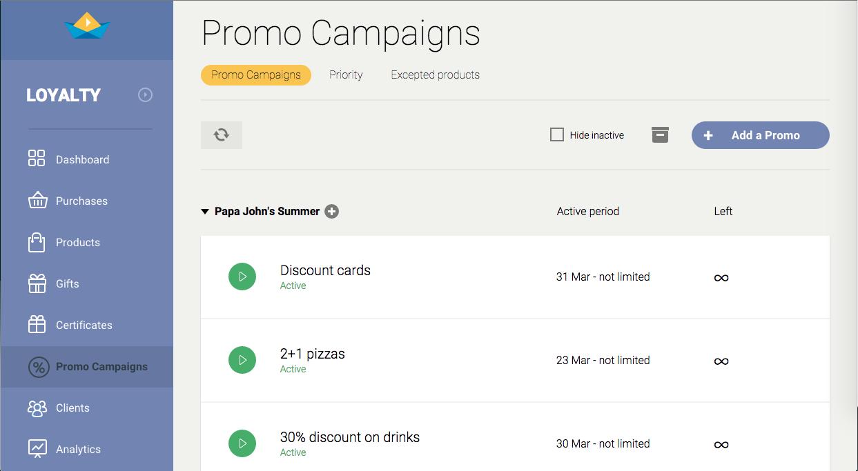 SailPlay Loyalty Demo - List of marketing campaigns
