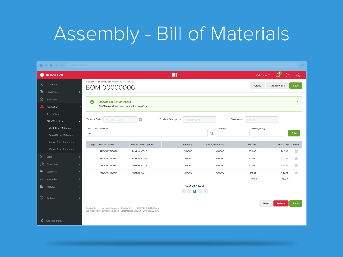 Unleashed Demo - Assembly Bill of Materials