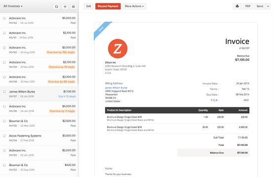 Zoho Books Demo - Invoice Overview