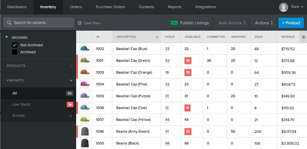 Stitch Labs Demo - Inventory Screen