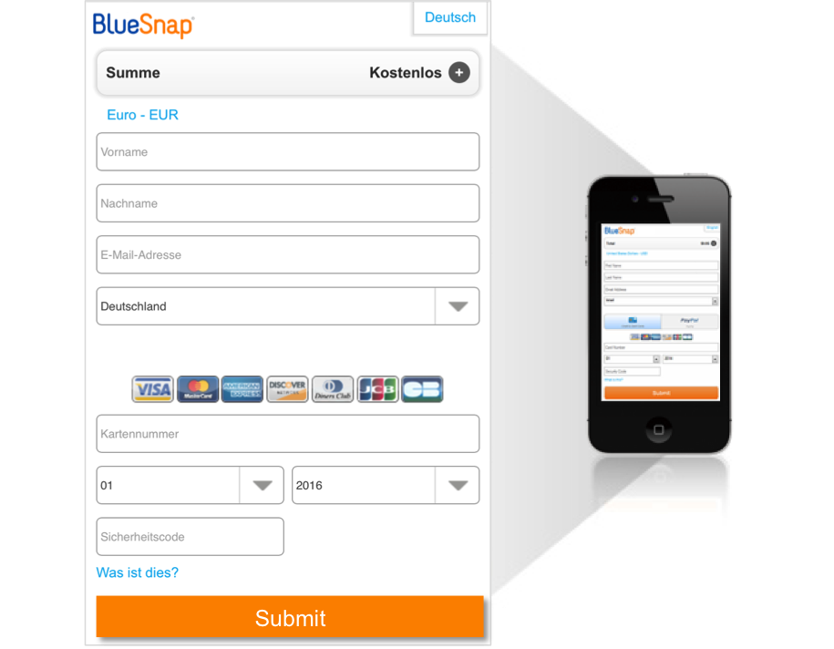 BlueSnap Demo - Mobile Checkout