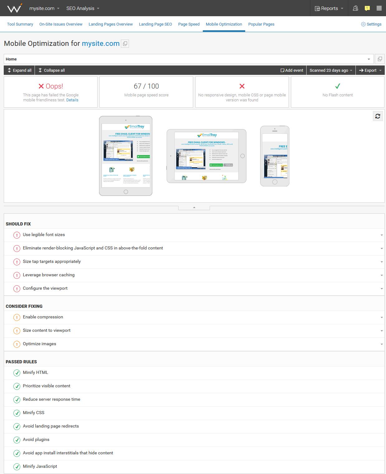 Web CEO Demo - SEO Analysis tool > Mobile Optimization report