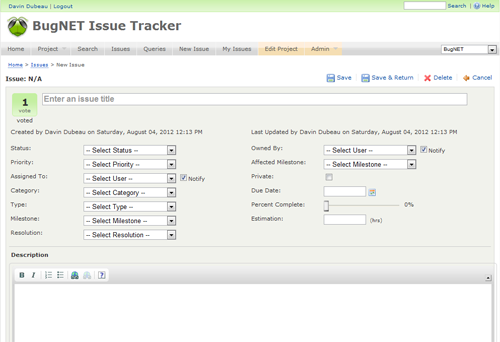 project issue tracking