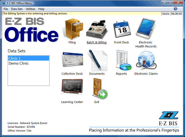 EZBIS Demo - EZBIS Office Menu (main screen)
