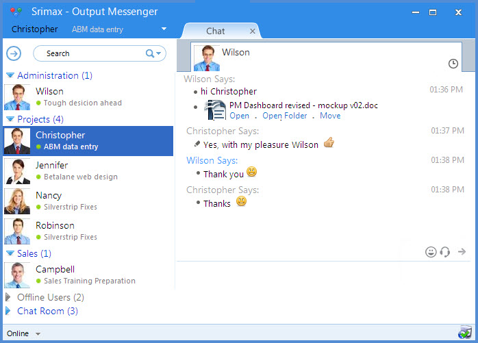 Output Messenger Demo - One to One Chat