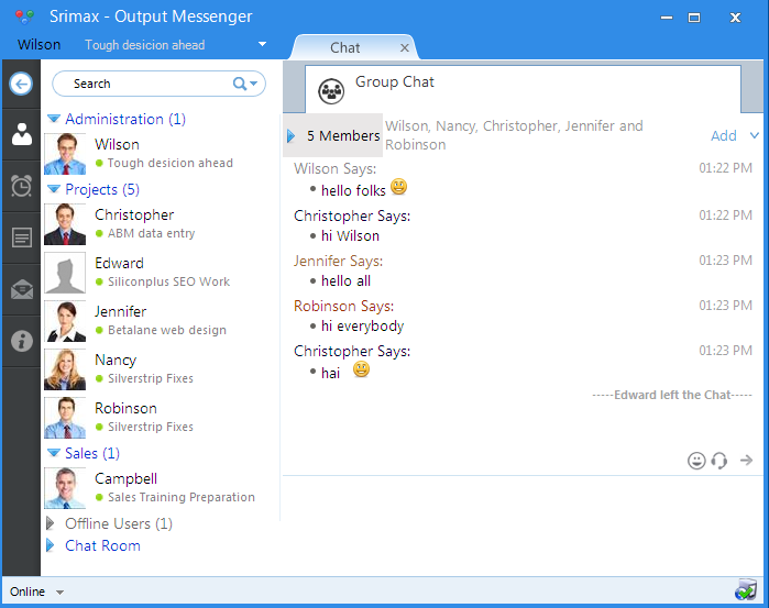 Output Messenger Demo - Group Chat