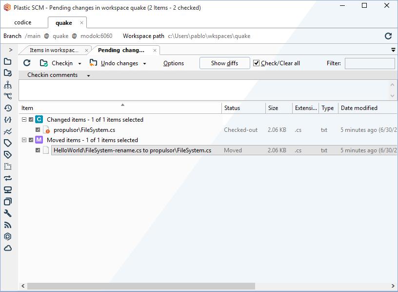 Plastic SCM Demo - Plastic SCM GUI