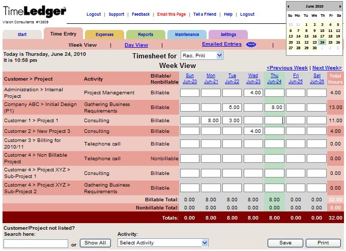 TimeLedger Demo - TimeLedger