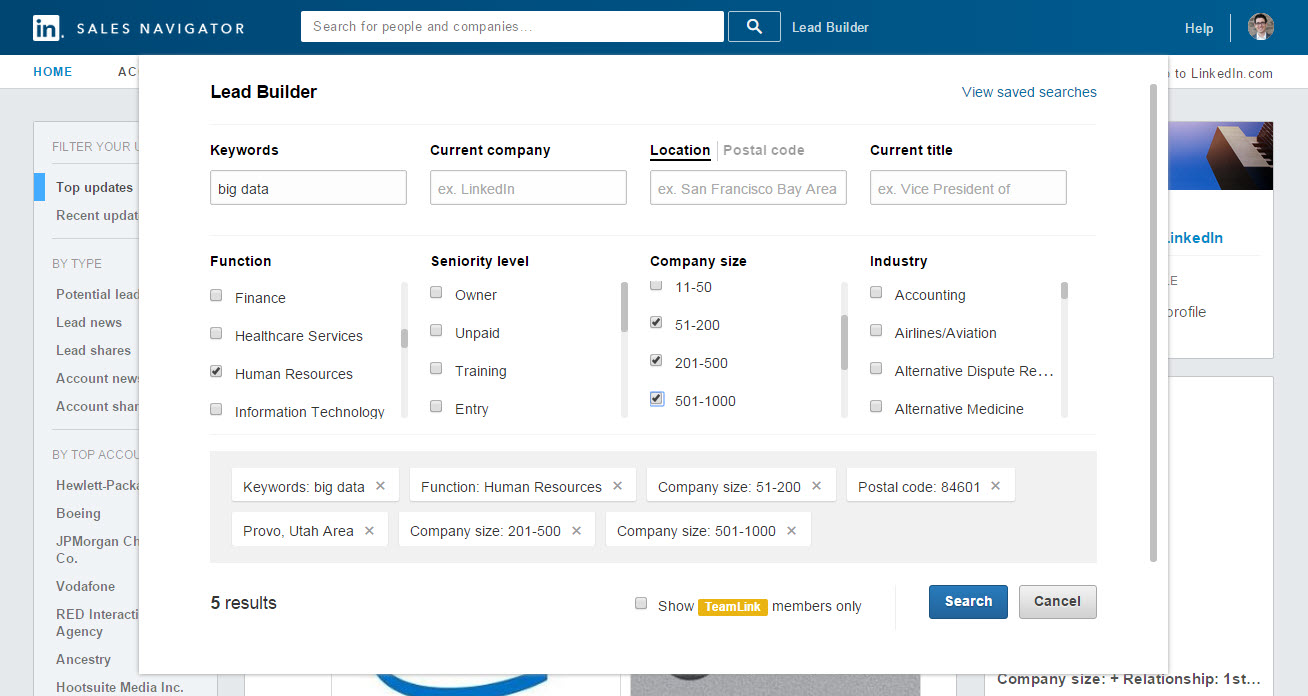 LinkedIn Sales Navigator Demo - Lead Builder