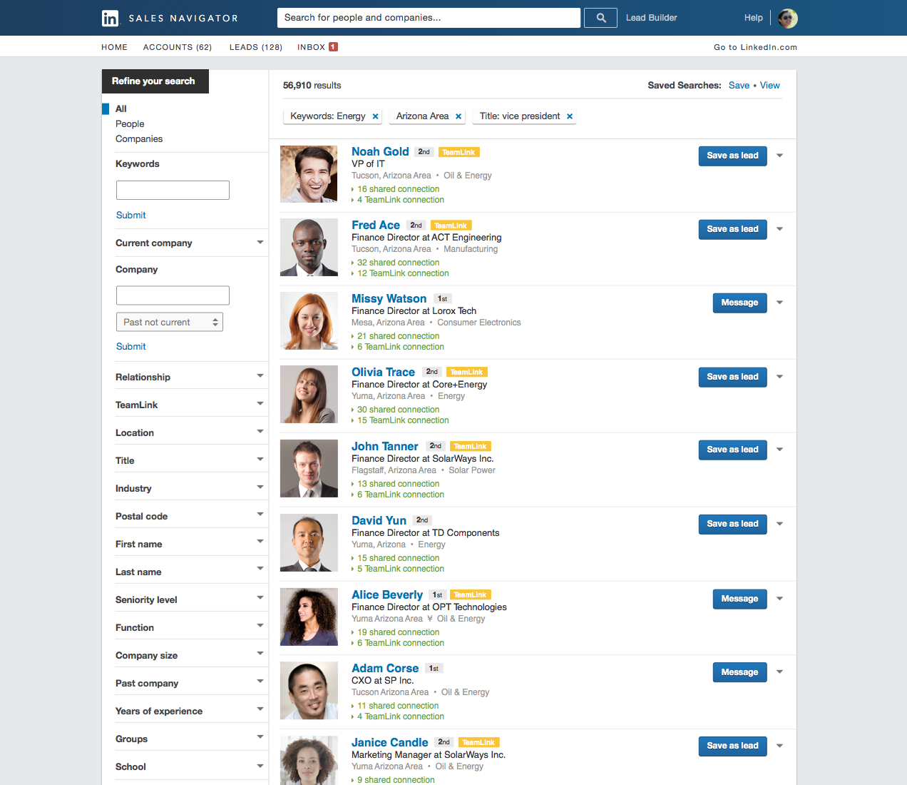 LinkedIn Sales Navigator Demo - Advanced Search