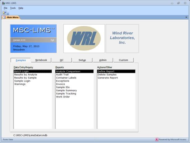 MSC-LIMS Demo - MSC-LIMS