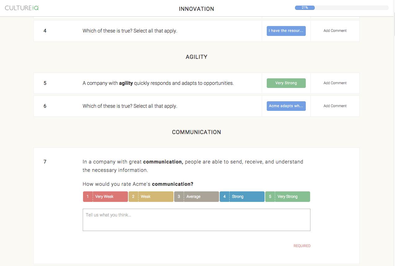 CultureIQ Demo - Core CultureIQ Survey