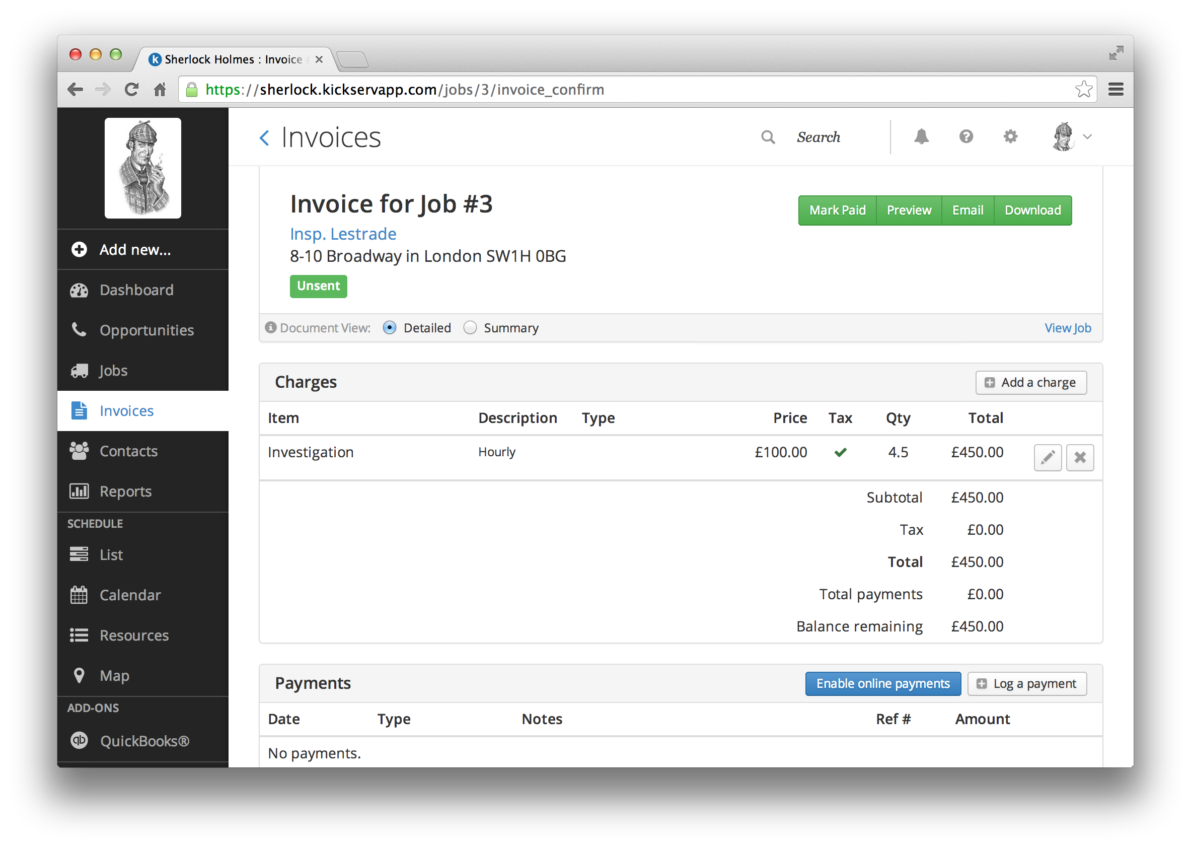 Kickserv Demo - Invoices