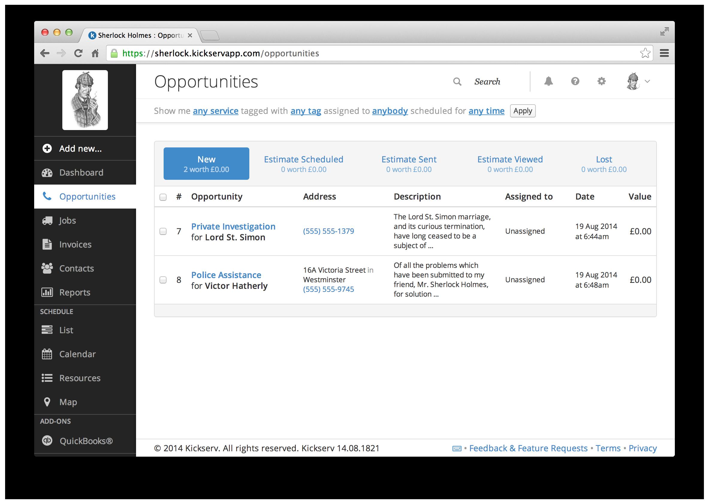 Kickserv Demo - Opportunities & Estimates