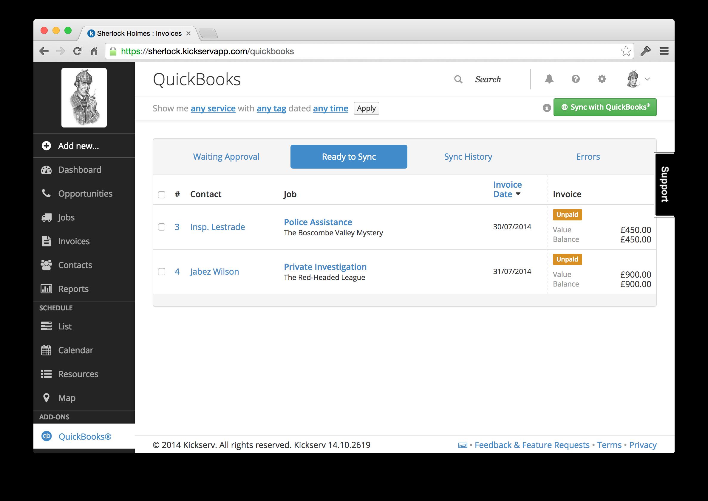 Kickserv Demo - QuickBooks Sync