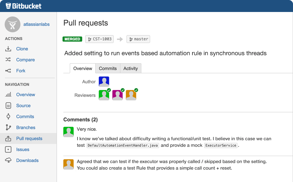 Bitbucket Demo - Pull Requests