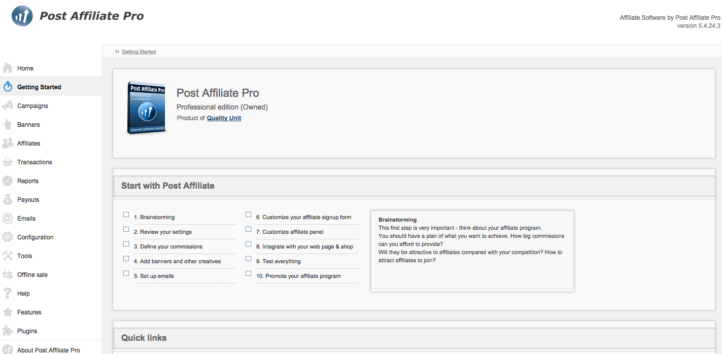 Post Affiliate Pro Demo - Getting started