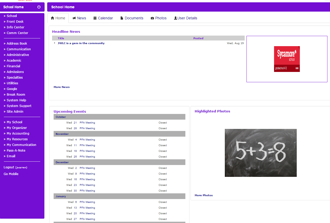 Sycamore Education Demo - School Home Page