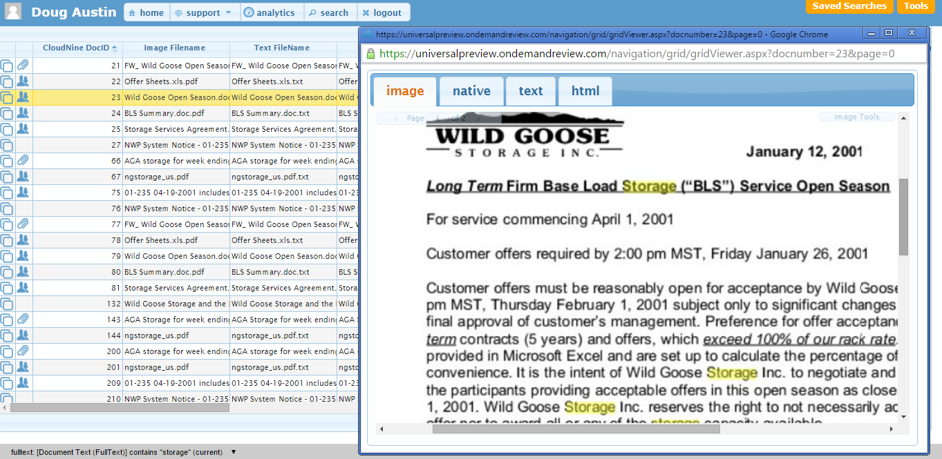 CloudNine Demo - Text search results appear as highlights on images.